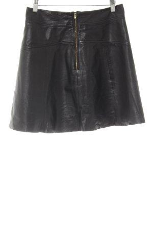 H&M Falda de cuero negro look efecto mojado