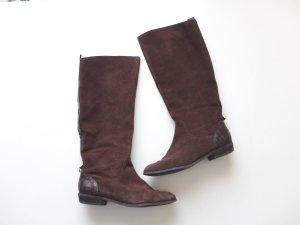 H&M Lederstiefel Gr. 40 Wildleder dunkelbraun Leder Stiefel