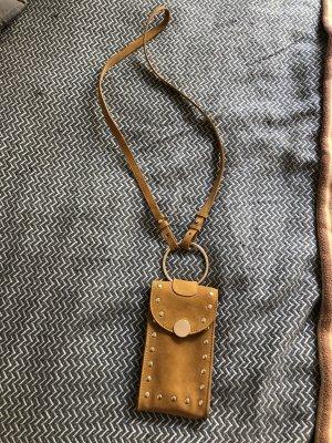 H&M ledertasche Umhängetasche braun gold