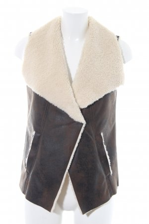 H&M Leather Vest dark brown-cream casual look