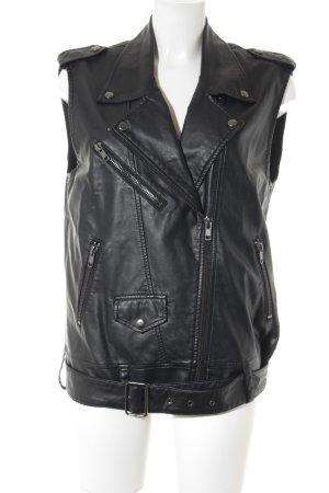 H&M Gilet en cuir noir Look de motard