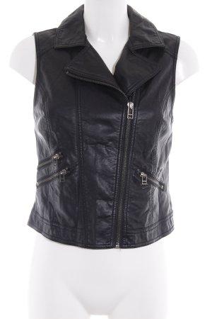 H&M Leren vest zwart casual uitstraling