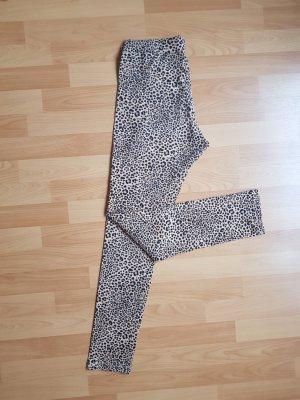 H&M Leggings Braun Beige Creme Leopard Baumwolle