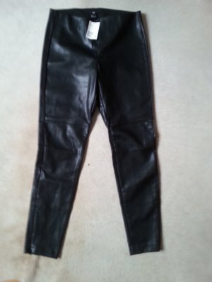 H&M Leggings Gr. 40 EUR 14 UK Lederlook schwarz NEU