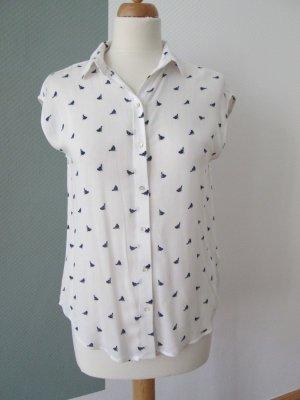 H&M leichte Bluse mit Vogeldruck weiß/blau Gr. 34