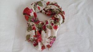 H&M Leinen-/Baumwoll-Tuch mit Blumenmuster, cremeweiß/rot