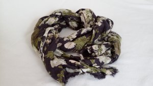 H&M Leinen-/Baumwoll-Tuch mit Blumenmuster, dunkelblau/nude