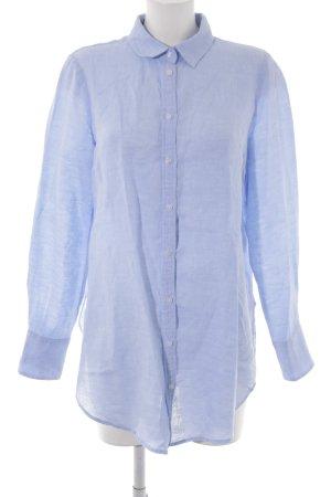 H&M Blusa in lino azzurro puntinato stile casual