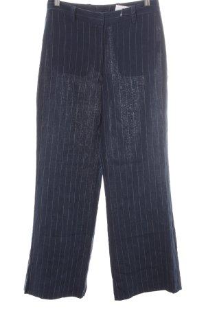 H&M Pantalón de lino azul oscuro-azul raya diplomática estilo «business»