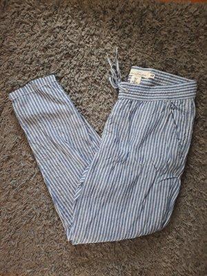 H&M Premium Pantalón de lino blanco-azul Lino
