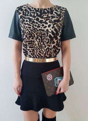 H&M Leo Bluse 34 36 XS S schwarz nude Animalprint Shirt Oberteil Longshirt Tunika Kleid Top Neu NP 35€