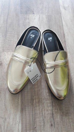 H&M Loafer Slipper Slipons Mules Pantoffeln Pantos Gold Metallic 40