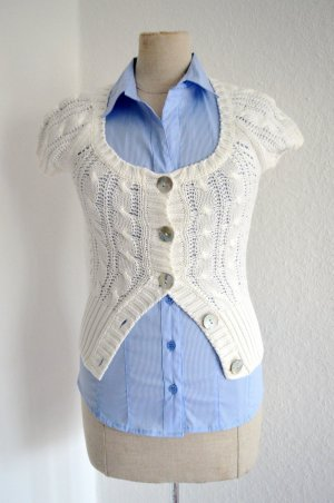 H&M LOGG 100% Cotton Strickjacke White + Beige +Shirt