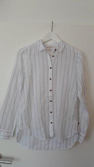 H&M L.O.G.G. Blusa-camisa blanco-azul Algodón