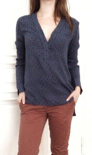 H&M Logg oversized Oberteil Shirt blau dunkelblau Muster Viskose 34 / XS NEU