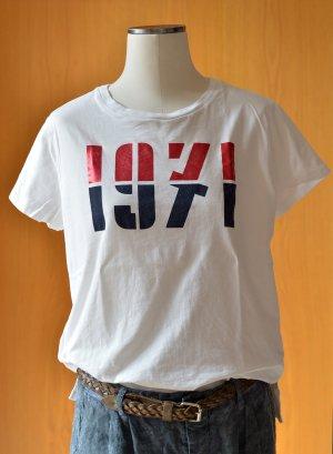 H&M Logg T-Shirt Gr.M 36/38 weiß mit Print 1971 Metallic retro sgt.Zstd. Kurzarm