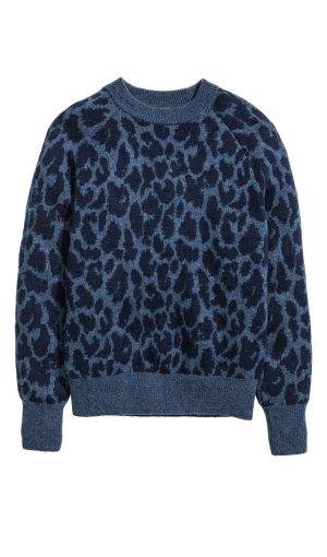 H&M Logg Wollpullover Leopardenmuster Animal blau