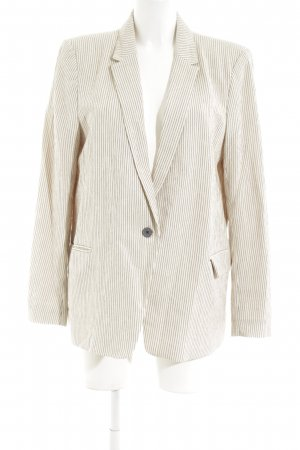 H&M Long-Blazer wollweiß-hellgrau Streifenmuster Business-Look