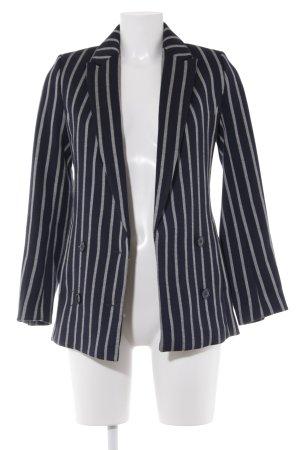 H&M Long-Blazer dunkelblau-weiß Streifenmuster Casual-Look