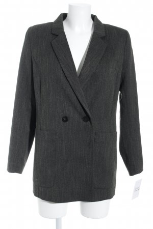 H&M Long-Blazer dunkelgrün-schwarz meliert Retro-Look