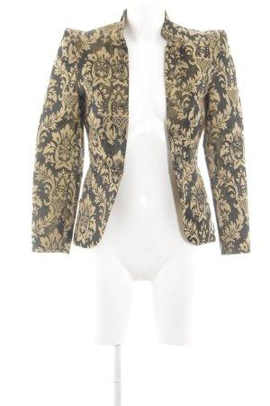 H&M Long-Blazer schwarz-goldfarben Allover-Druck extravaganter Stil