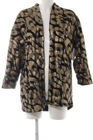 H&M Long-Blazer goldfarben-schwarz extravaganter Stil