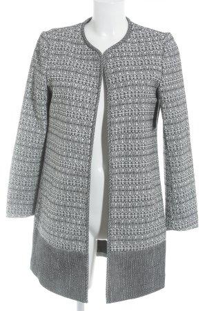 H&M Long-Blazer schwarz-weiß abstraktes Muster klassischer Stil
