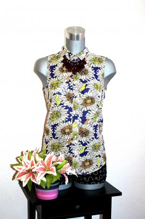 H&M Long Bluse Gr. 36/38 Oversize Flower Print Retro Top