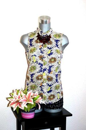 H&M Long Bluse Gr. 38/40 Flower Print Retro Top