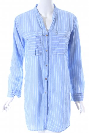 H&M Long-Bluse himmelblau-weiß Streifenmuster Casual-Look
