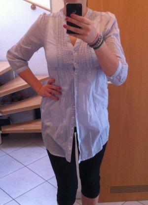 H&M Long-Bluse in hellblau weiß mit dünnen Streifen schick zur Leggins