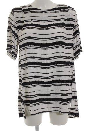 H&M Long-Bluse schwarz-weiß Streifenmuster Casual-Look