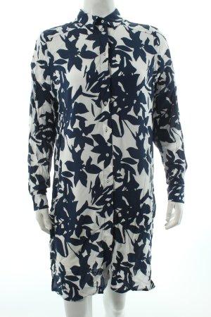 H&M Long-Bluse weiß-dunkelblau Blumenmuster Beach-Look