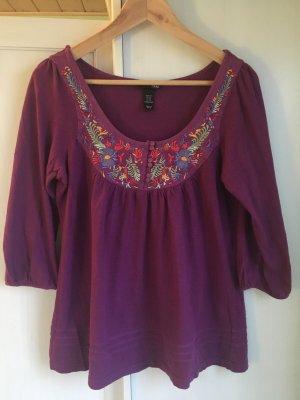 H&M Long Sleeve Langärmliges T-shirt Gr.34 100% Baumwolle Stickerei Hippie/ Ethno