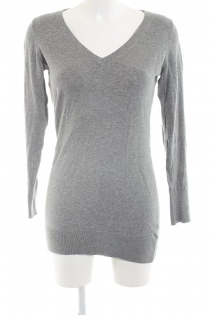 H&M Long Sweater light grey flecked casual look