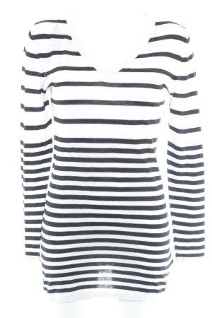 H&M Longpullover schwarz-weiß Streifenmuster Casual-Look