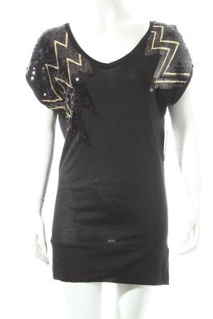 H&M Longshirt schwarz-goldfarben Glanz-Optik