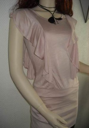 H&M Longshirt Volant Shirt Mini Kleid Longtop Top nude rose NEU 34 36 38 XS S M