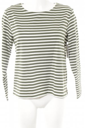 H&M Longshirt wollweiß-khaki Streifenmuster Casual-Look