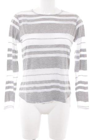 H&M Longsleeve hellgrau-weiß Streifenmuster Casual-Look