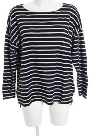 H&M Top à manches longues noir-blanc motif rayé style athlétique