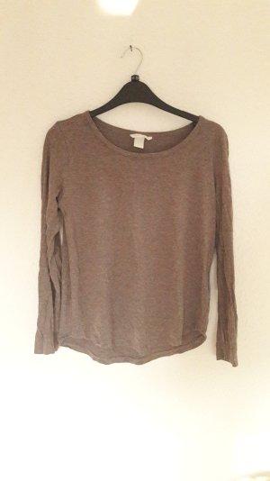 H&M Longsleeve Shirt melange Meliert taupe lila S