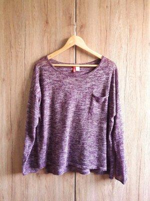 H&M Longsleeve Shirt meliert lila purpur weiß Gr. L