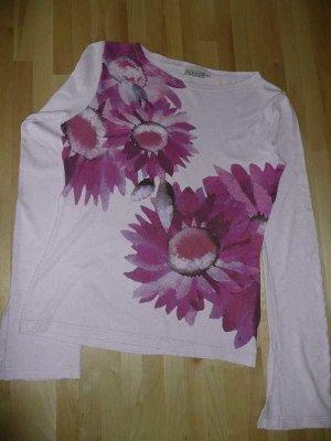 H&M Longsleeve Top Langarm Shirt Viskose rosa mit Flower Print M