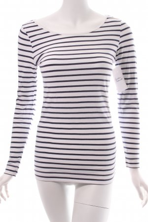 H&M Longsleeve weiß-dunkelblau Streifenmuster Casual-Look