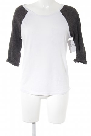 H&M Longsleeve weiß-dunkelgrau sportlicher Stil