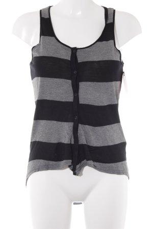 H&M Longtop grau-schwarz Ringelmuster Casual-Look
