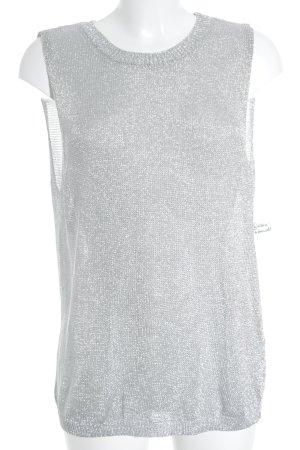 H&M Longtop silberfarben Glitzer-Optik