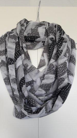 H&M Loop Schal Tuch Federn grau schwarz weiß