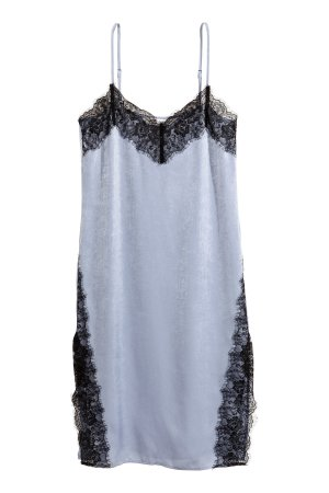 H&M loves Coachella Slip Dress Satin Kleid Spitze Spaghettiträger hellblau schwarz